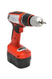 Screwdriver electric. Red Drill-screwdriver electric storage stock image