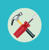 Screwdriver and hammer flat design Stock Images