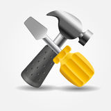 Screwdriver and hammer icon vector illustration Stock Photo