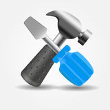 Screwdriver and hammer icon vector illustration Royalty Free Stock Photo