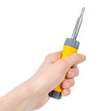 Screwdriver in hand Stock Image