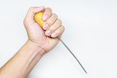 Screwdriver on hand. Screwdriver and hand on white background stock images
