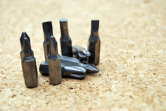 Screwdriver heads. Composition with a few screwdriver heads ,objects used in construction Stock Photos