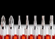 Screwdriver heads closeup isolated on black and white Stock Images