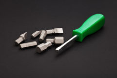Screwdriver with interchangeable heads Stock Photos