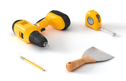Screwdriver, measuring tape and spatula royalty free stock photos