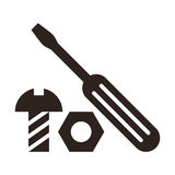 Screwdriver, nut and bolt icon Stock Images