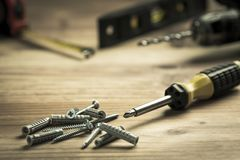 Screwdriver and pile of screws Royalty Free Stock Photo