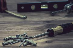 Screwdriver and pile of screws Stock Photo