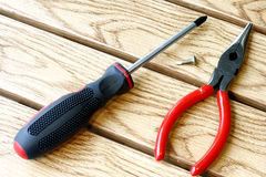 Screwdriver and Plier Stock Image