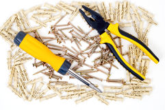 Screwdriver and pliers Stock Photography
