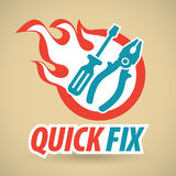 Screwdriver and pliers, fireball. Vector illustration Royalty Free Stock Images