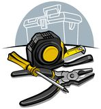 Screwdriver, pliers and tape measure Stock Images