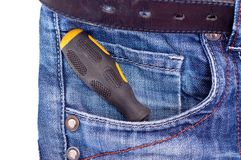Screwdriver in pocket Royalty Free Stock Images