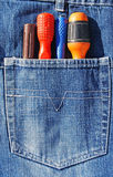 Screwdriver in pocket Stock Image