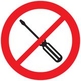 Screwdriver prohibition icon Royalty Free Stock Photo