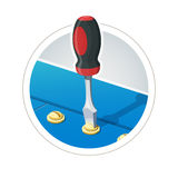 Screwdriver with screw Royalty Free Stock Photography