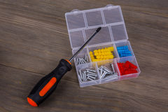 Screwdriver and screw Kit Royalty Free Stock Photography