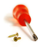 Screwdriver and screws Stock Photo
