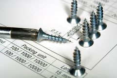 Screwdriver and screws Stock Image