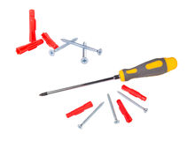 Screwdriver , screws and Stock Images