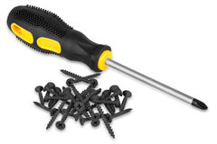 Screwdriver and screws Stock Images