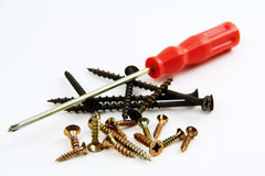 Screwdriver and screws. Royalty Free Stock Photography