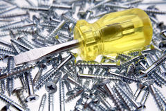 Screwdriver & screws Royalty Free Stock Photography