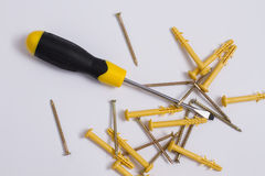 Screwdriver with screws and dowels Royalty Free Stock Images