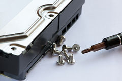 Screwdriver and screws near hard drive Stock Images
