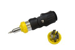 Screwdriver with set of nozzles Stock Photography