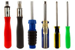 Screwdriver Set. A set of screwdrivers isolated on a white background Royalty Free Stock Photo