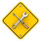 Screwdriver and spanner. Stock Images
