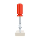 Screwdriver tightening screw Royalty Free Stock Photography