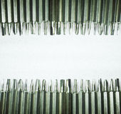 Screwdriver tips. Arranged to the top and buttom. Able to use as background Stock Images