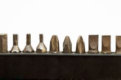 Screwdriver tips in their plastic holders Royalty Free Stock Image