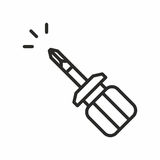 Screwdriver vector icon. Screwdriver line icon on white background. Vector illustration royalty free illustration