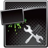 Screwdriver and wrench on black halftone banner Stock Photography