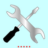 Screwdriver and wrench it is color icon . Royalty Free Stock Images