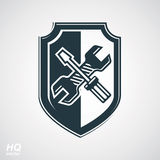 Screwdriver and wrench crossed design graphic element. Royalty Free Stock Image