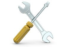 Screwdriver and Wrench - 3D Royalty Free Stock Images