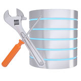 Screwdriver, wrench and database. Isolated render on a white background Royalty Free Stock Photography