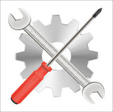 Screwdriver wrench and gear repair logo Stock Photo