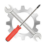 Screwdriver wrench and gear repair logo Royalty Free Stock Image