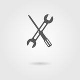 Screwdriver and wrench icon with shadow Stock Photo
