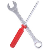 Screwdriver and wrench Royalty Free Stock Photos