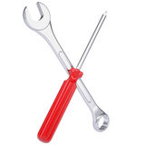 Screwdriver and wrench Royalty Free Stock Photography