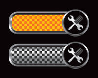 Screwdriver and wrench orange and black tabs Stock Photos