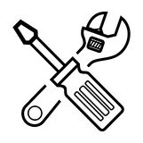Screwdriver and Wrench Stock Image