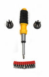 Screwdrivers and bits isolated Royalty Free Stock Photos